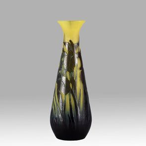 Emile Galle Vase - Art Nouveau Glass - Water Lillies Vase - Hickmet Fine Arts