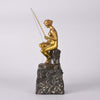 Art Nouveau Bronze Girl Fishing