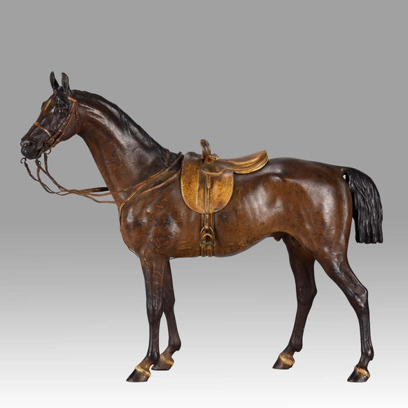 """A Side Saddle Standing Horse"" by Franz Bergman"