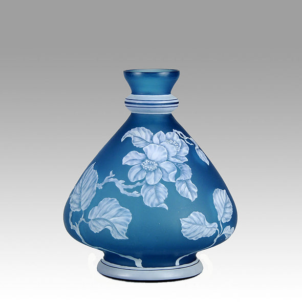 Stevens and Williams Blue Cameo Vase