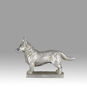 Silvered Bronze Corgi Car Mascot
