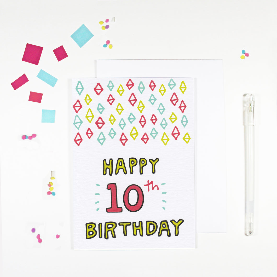 Happy 10th Birthday Card by Angela Chick