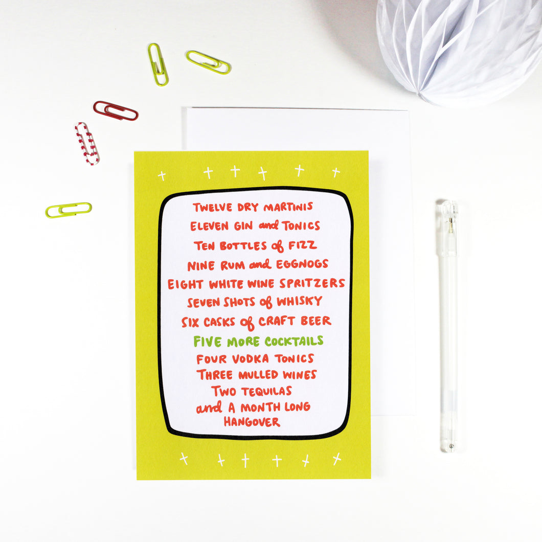 12 Days of Drinking Christmas Card by Angela Chick