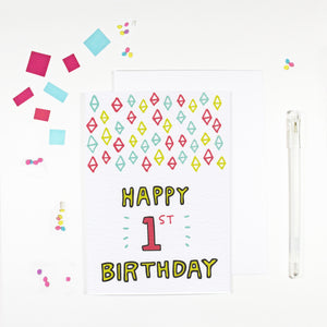Happy 1st Birthday Card by Angela Chick