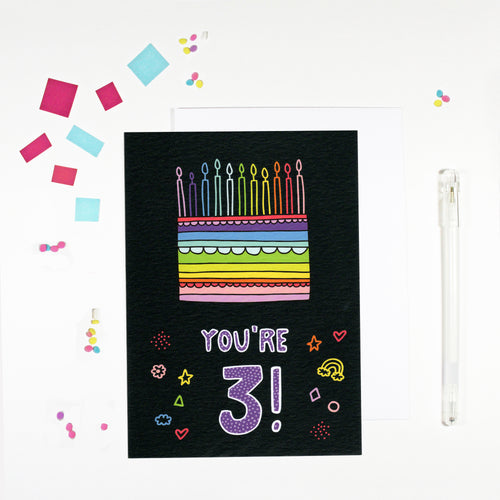3 Year Old Birthday Card for 3 Year Old Happy 3rd Birthday by Angela Chick