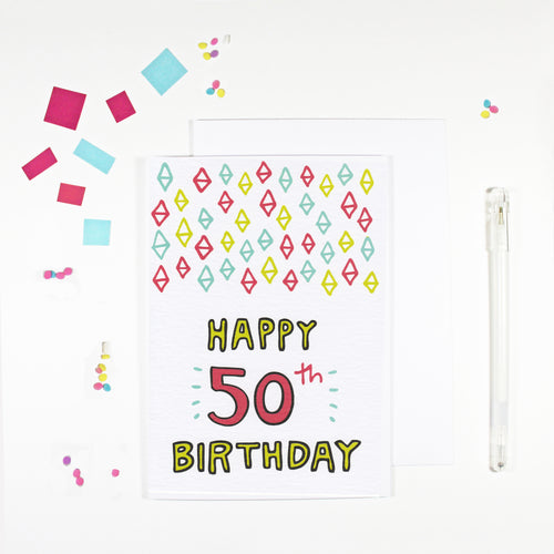 Happy 50th Birthday Card by Angela Chick