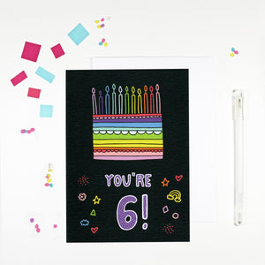 6 Year Old Birthday Card for 6 Year Old Happy 6th Birthday by Angela Chick