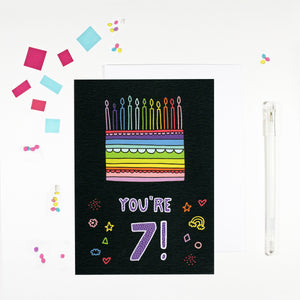 7 Year Old Birthday Card for 7 Year Old Happy 7th Birthday by Angela Chick