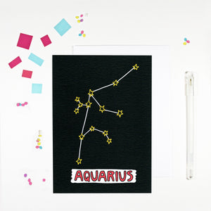 Aquarius Star Sign Birthday Card by Angela Chick