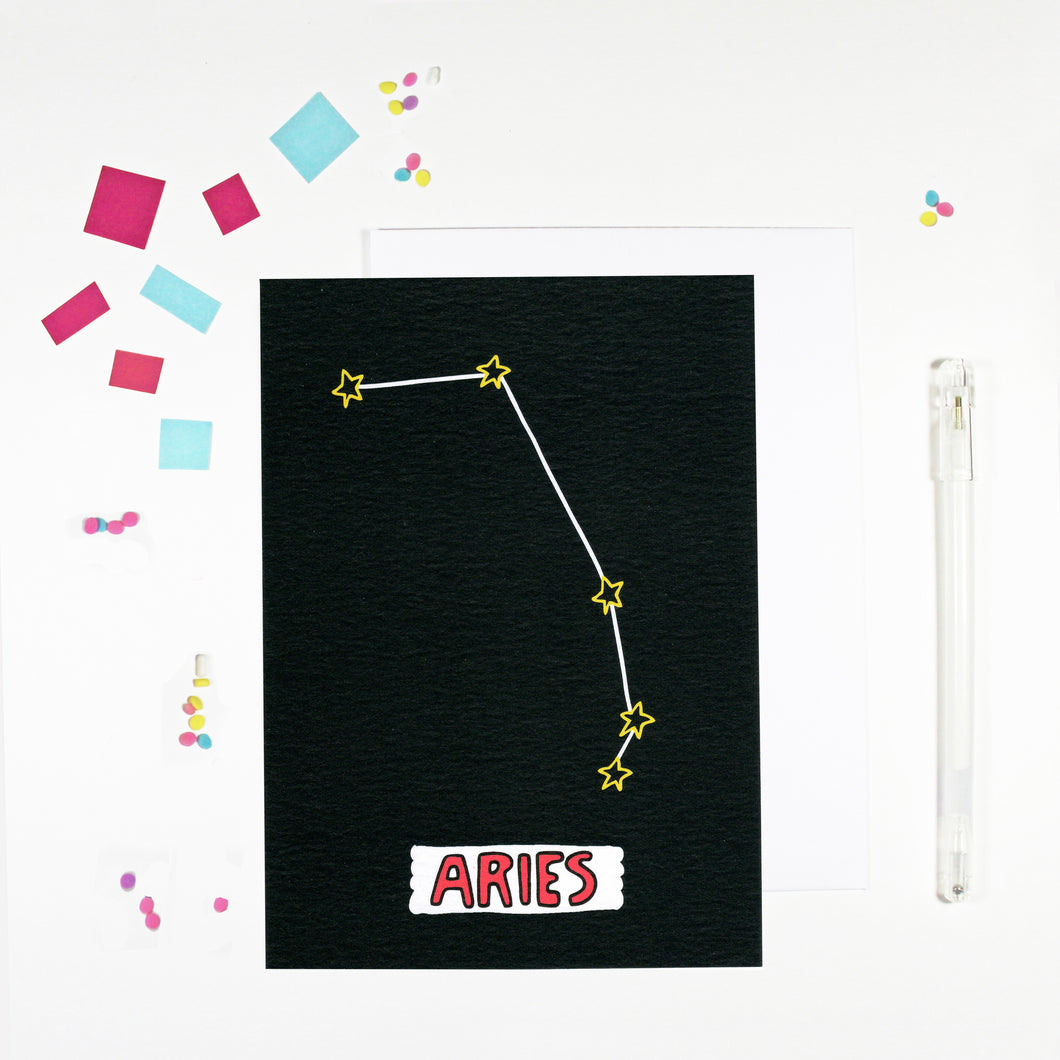 Aries Star Sign Birthday Card by Angela Chick