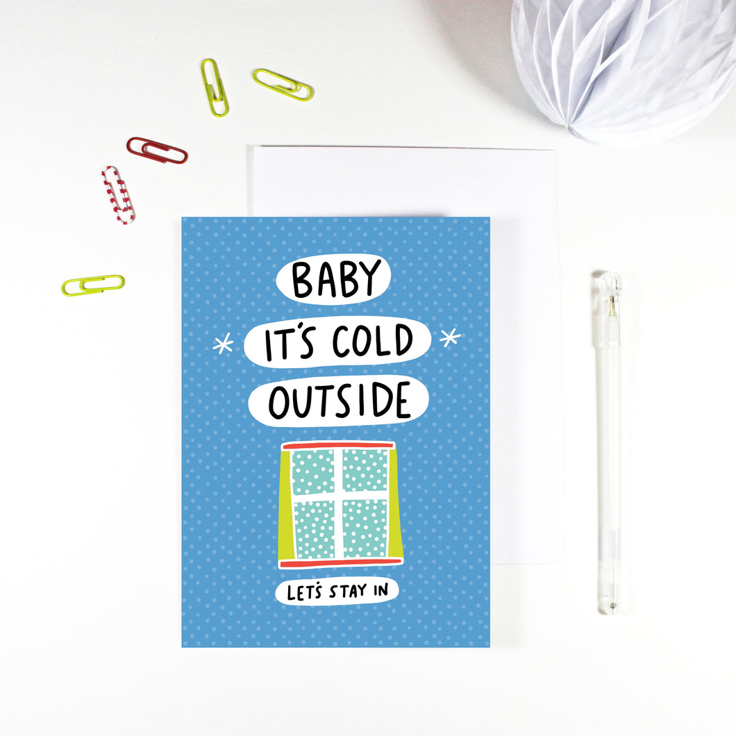 Baby It's Cold Outside Christmas Card by Angela Chick