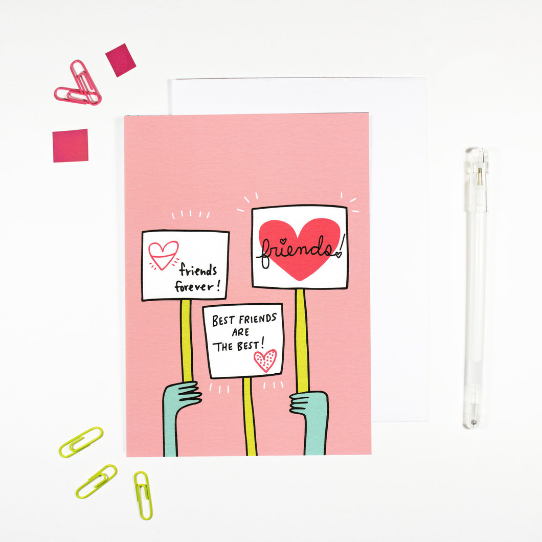 Best Friends Are The Best Protest Themed Card for Best Friends by Angela Chick