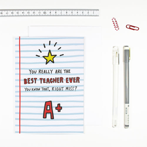 Best Teacher Miss Card by Angela Chick