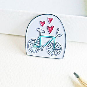Bicycle Lover Pink Glitter Hearts Bike Pin Enamel Pin by Angela Chick