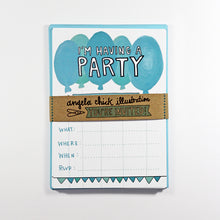 Blue Balloons Party Invitation