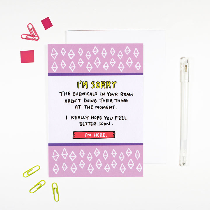 Brain Chemicals Mental Health Support Card by Angela Chick