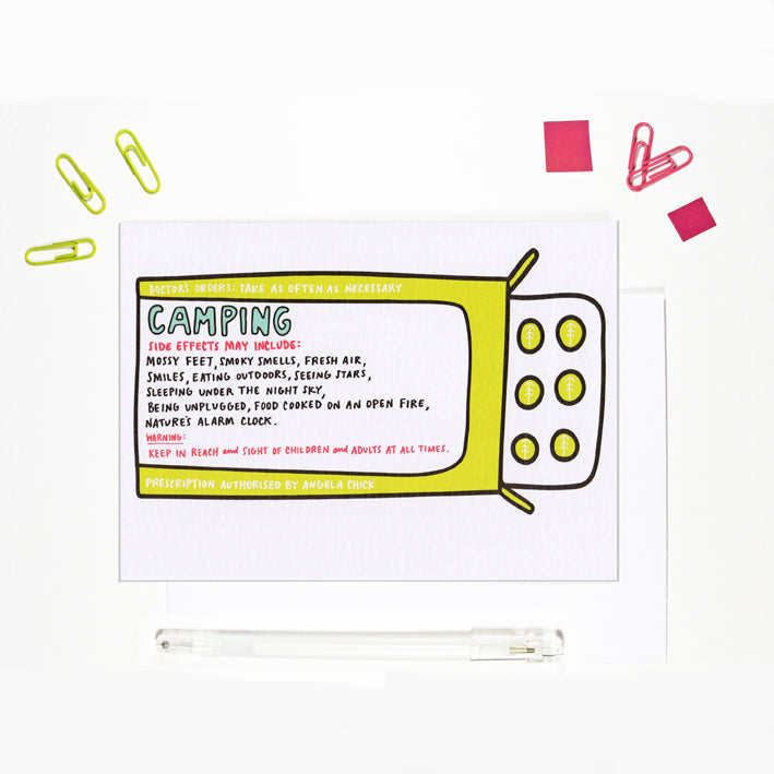 Camping Prescription Card for Outdoor Lovers