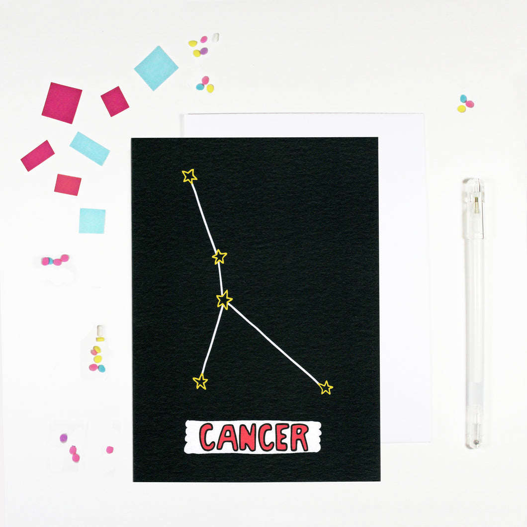 Cancer Star Sign Birthday Card by Angela Chick