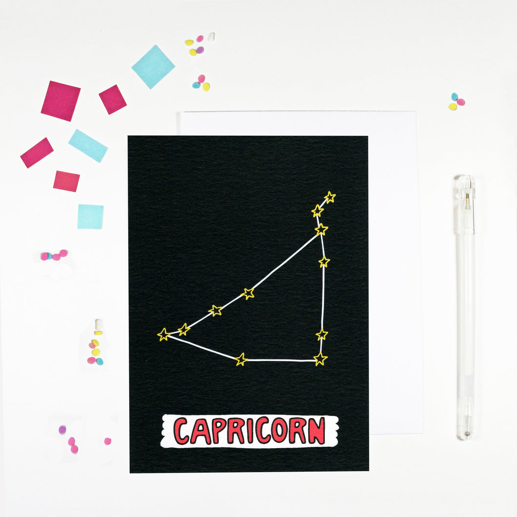 Capricorn Star Sign Birthday Card by Angela Chick