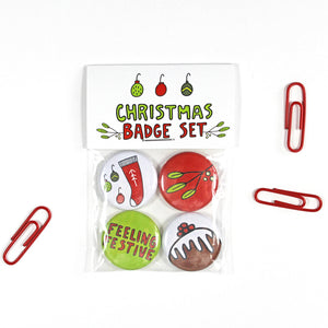 Christmas Badges Set of 4 by Angela Chick