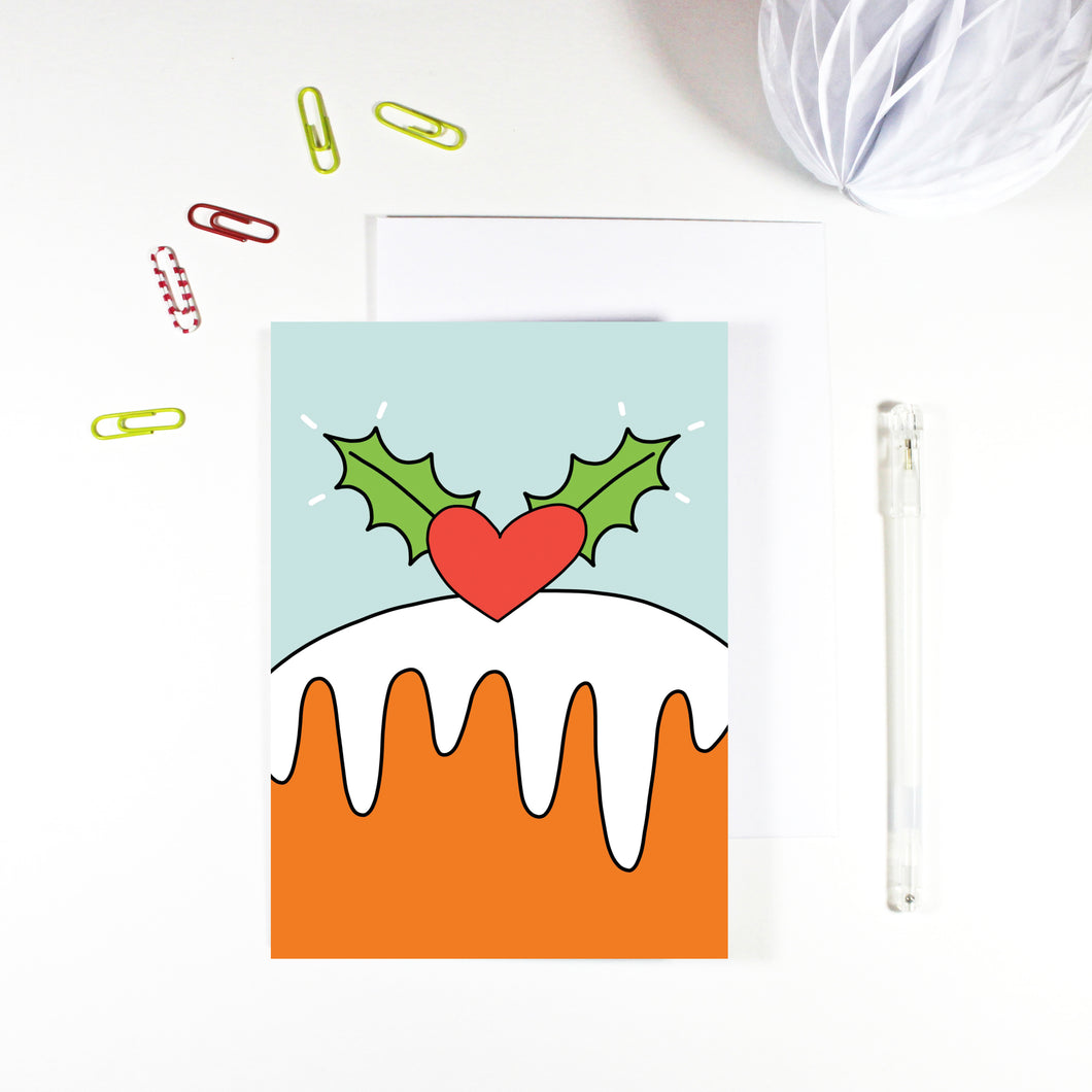 Christmas Pudding Christmas Card by Angela Chick