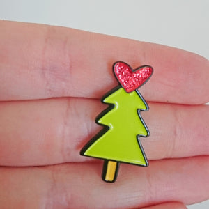 Christmas Tree Enamel Pin by Angela Chick