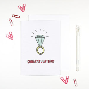Congratulations Diamond Ring Engagement Card by Angela Chick