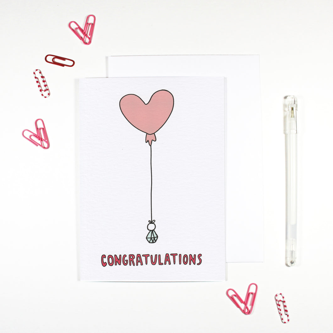 Congratulations Heart Balloon Engagement Card by Angela Chick