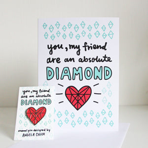 Diamond Heart Enamel Pin and Card for Friends by Angela Chick