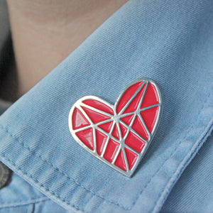 Diamond Heart Enamel Pin for Friends by Angela Chick