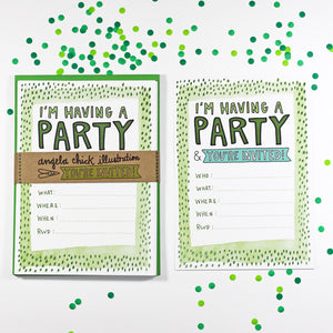 Green Watercolour Party Invitation