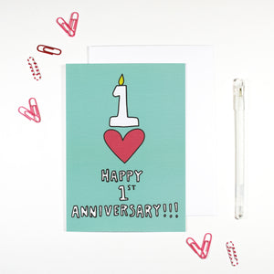 Happy 1st Anniversary Card by Angela Chick