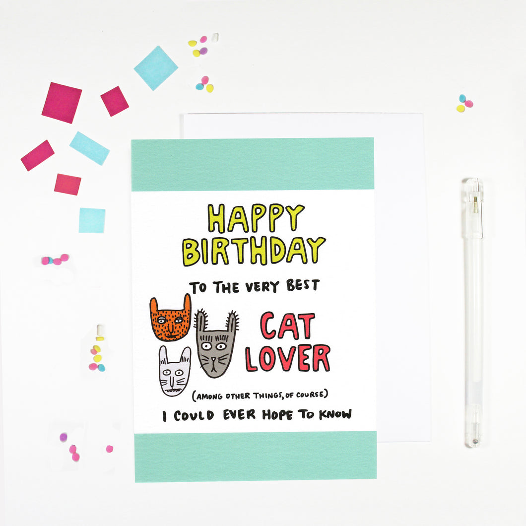 Happy Birthday Cat Lover Birthday Card by Angela Chick