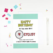 Happy Birthday Cyclist Birthday Card by Angela Chick