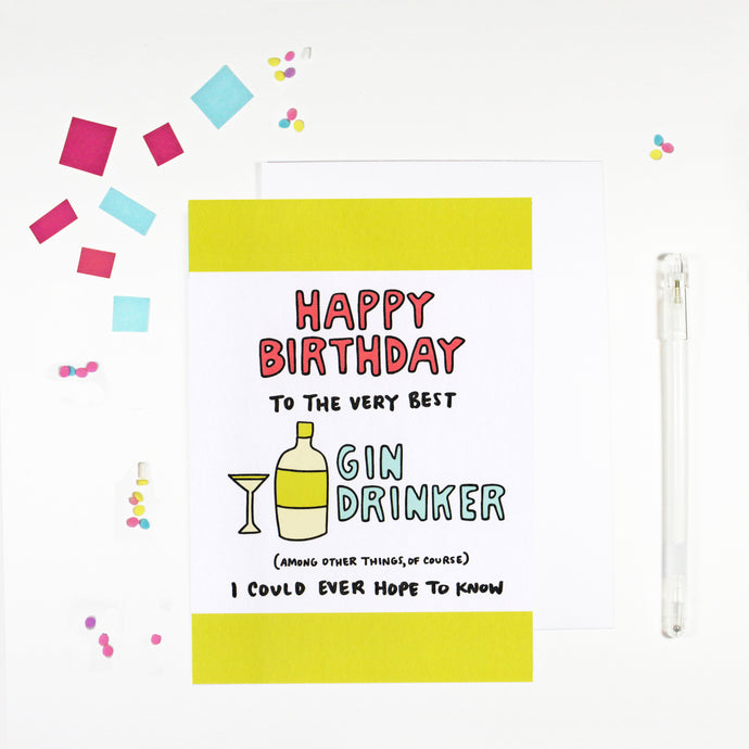 Happy Birthday Gin Drinker Birthday Card by Angela Chick