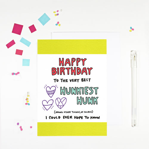 Happy Birthday Hunk Boyfriend Birthday Card by Angela Chick