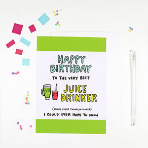 Happy Birthday Juice Drinker Birthday Card by Angela Chick