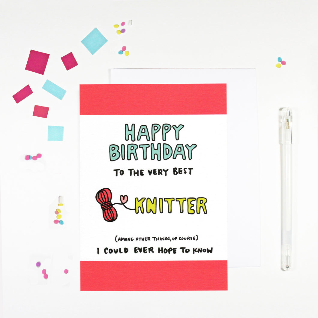Happy Birthday Knitter Birthday Card by Angela Chick