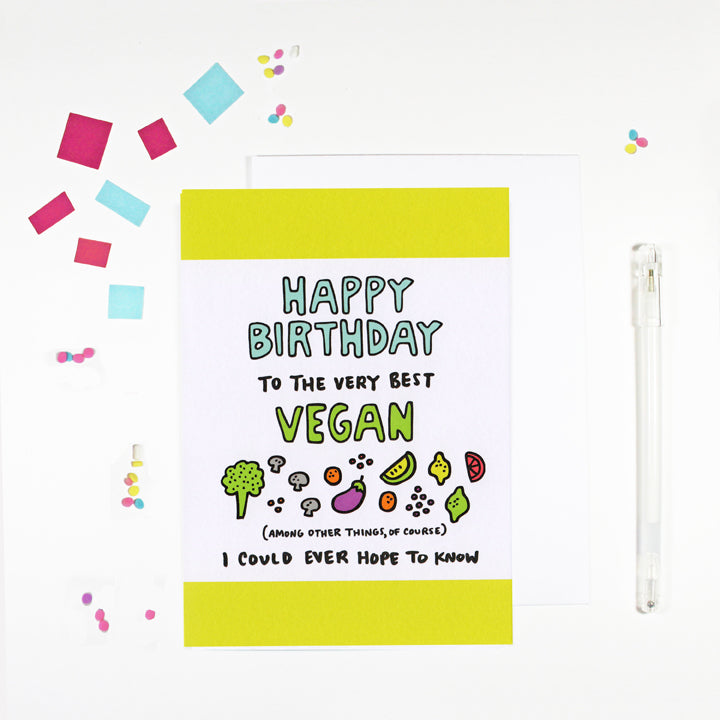 Happy Birthday Vegan Birthday Card for Vegans by Angela Chick