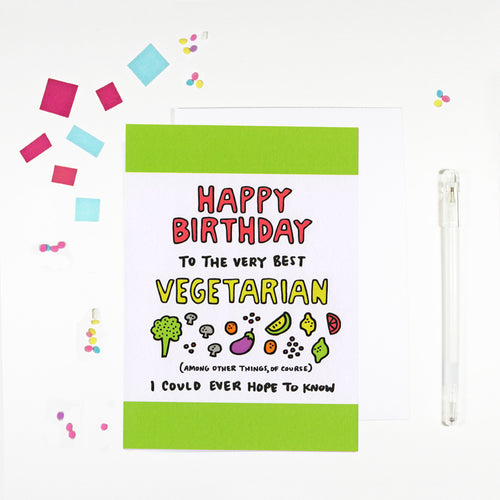 Happy Birthday Vegetarian Birthday Card for Vegetarians by Angela Chick