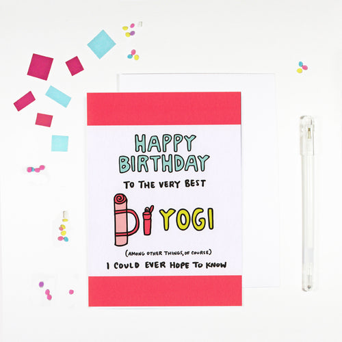 Happy Birthday Yogi Yoga Birthday Card for Yoga Lovers by Angela Chick