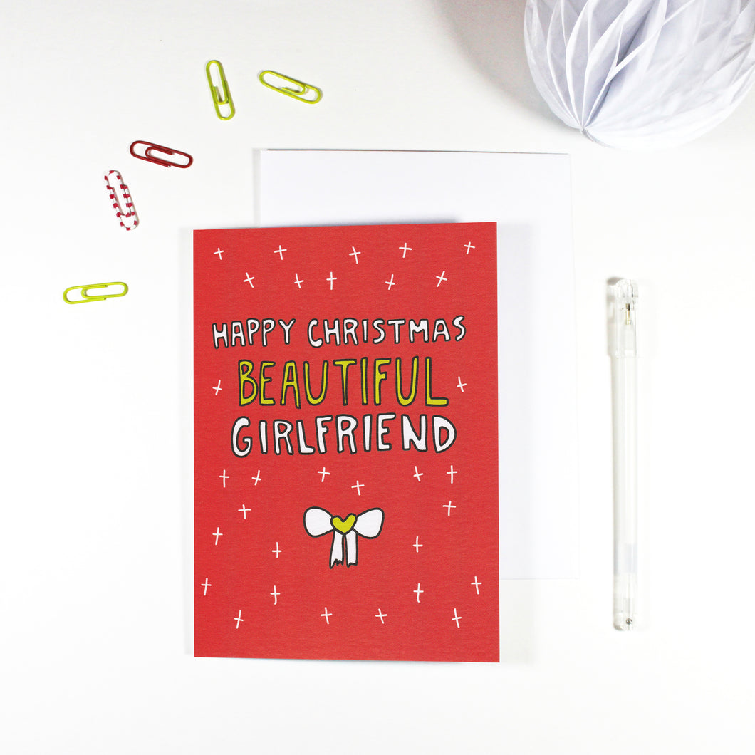 Happy Christmas Beautiful Girlfriend Christmas Card by Angela Chick