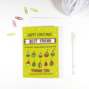 Happy Christmas Best Friend Baubles Christmas Card by Angela Chick