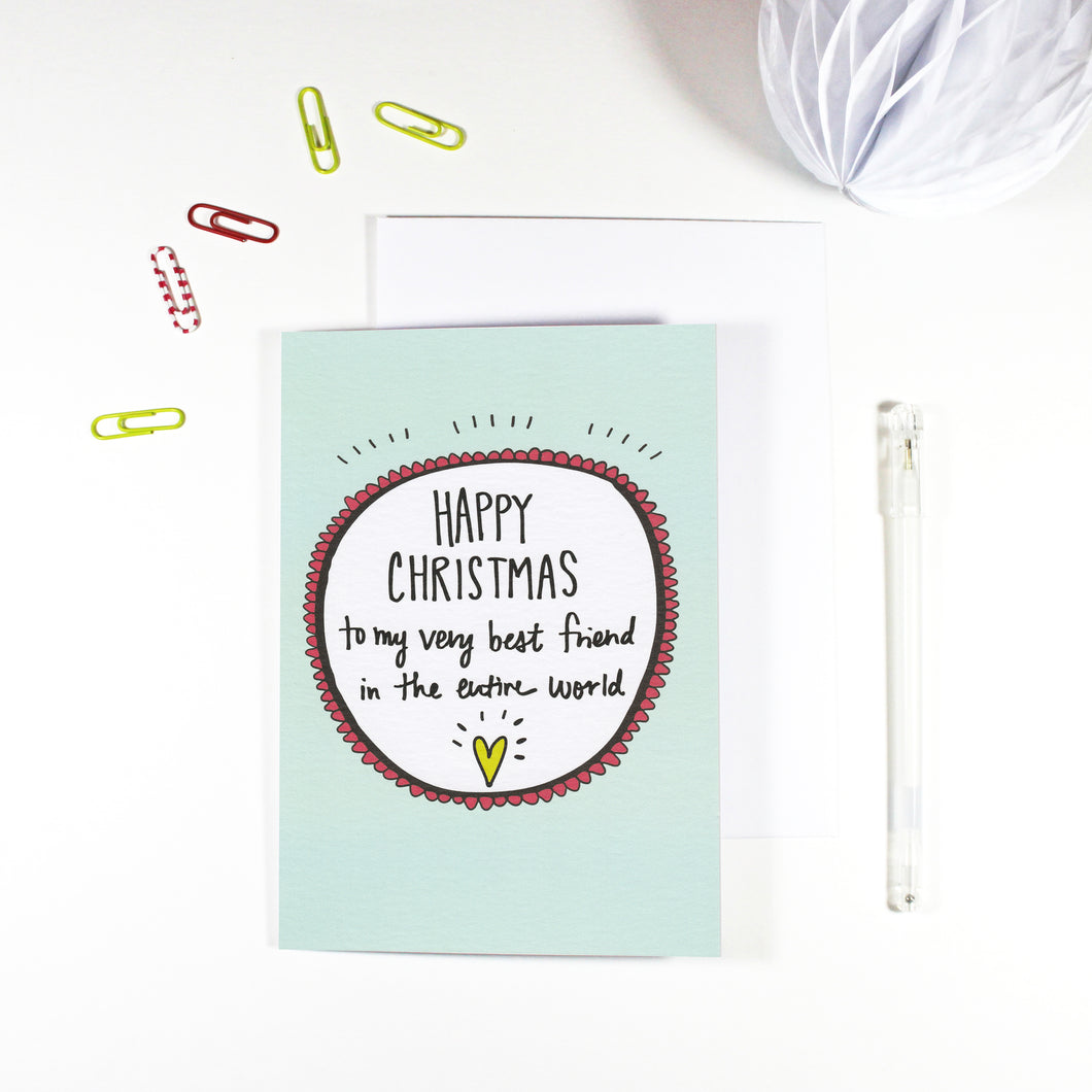 Happy Christmas Best Friend Christmas Card by Angela Chick