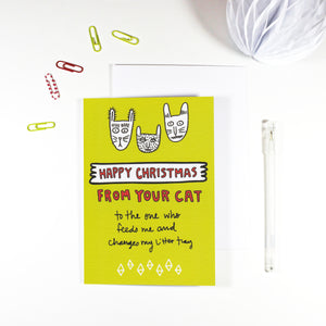 Happy Christmas From Your Cat Card by Angela Chick
