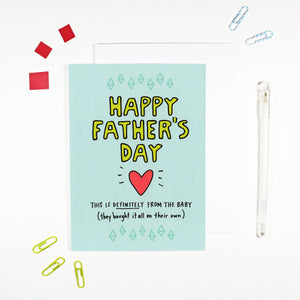 Happy Father's Day From The Baby Card by Angela Chick