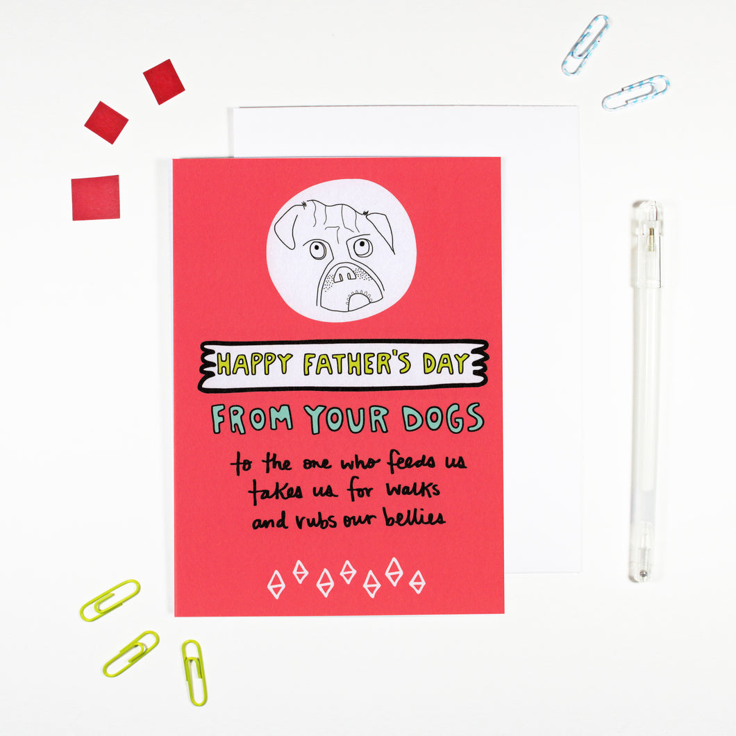Happy Father's Day From Your Dogs Card by Angela Chick