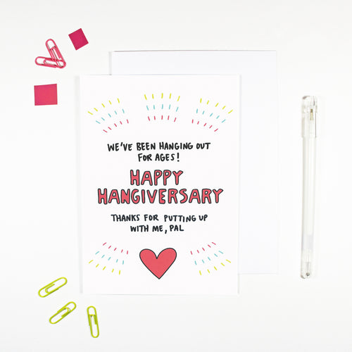 Happy Hangiversary Friendship Anniversary Card by Angela Chick