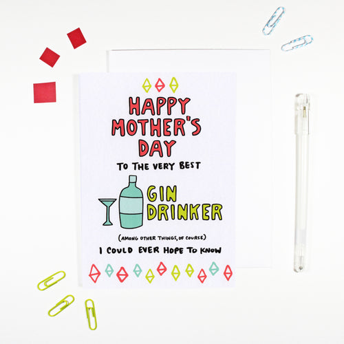 Happy Mother's Day Gin Drinker Card by Angela Chick