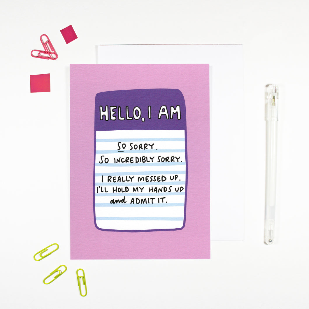 Hello I'm Sorry Card by Angela Chick